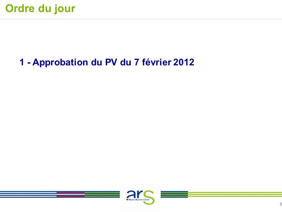 3 1 - Approbation du PV du 7 février 2012 Ordre du jour