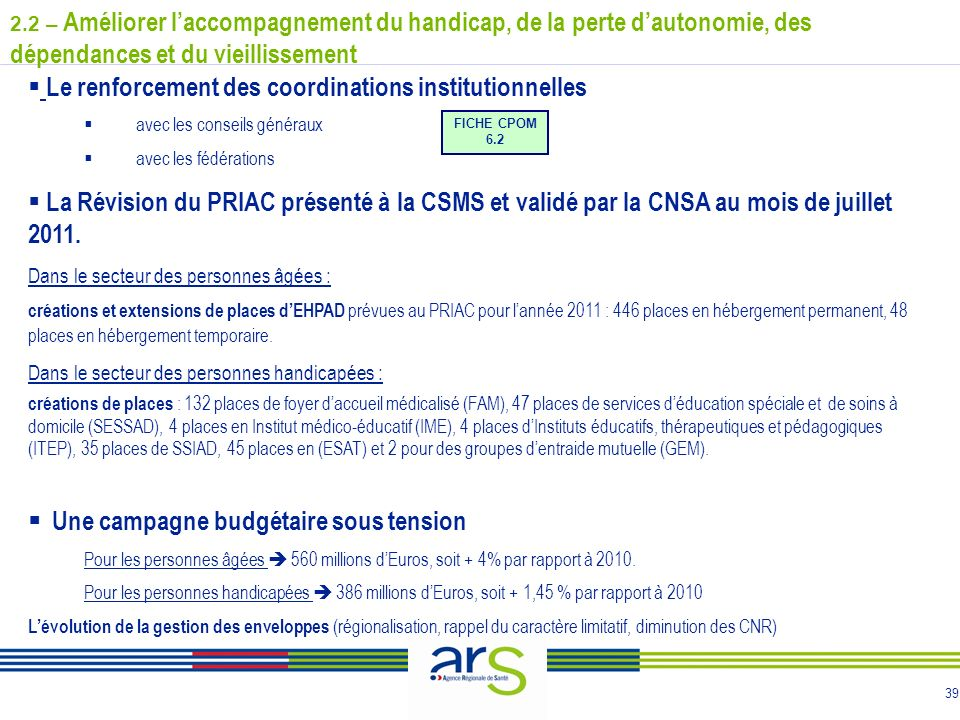 39 Le renforcement des coordinations institutionnelles avec les conseils généraux avec les fédérations La Révision du PRIAC présenté à la CSMS et validé par la CNSA au mois de juillet 2011.