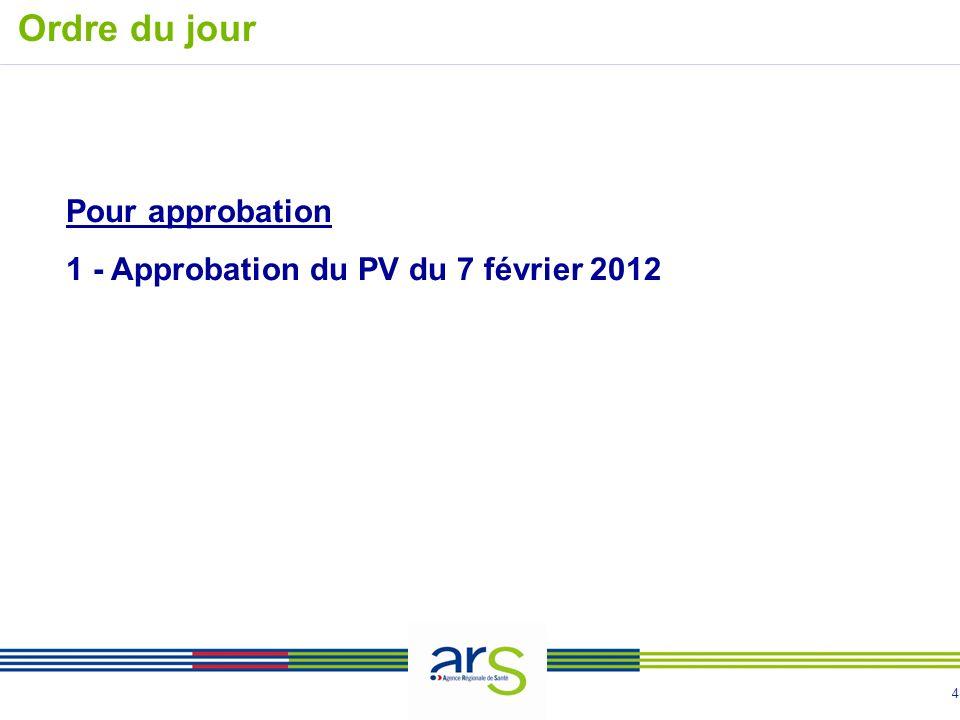 4 Pour approbation 1 - Approbation du PV du 7 février 2012 Ordre du jour