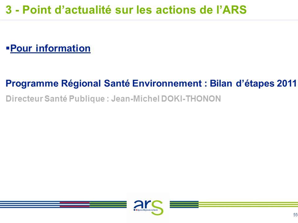 55 Pour information Programme Régional Santé Environnement : Bilan détapes 2011 Directeur Santé Publique : Jean-Michel DOKI-THONON 3 - Point dactualité sur les actions de lARS