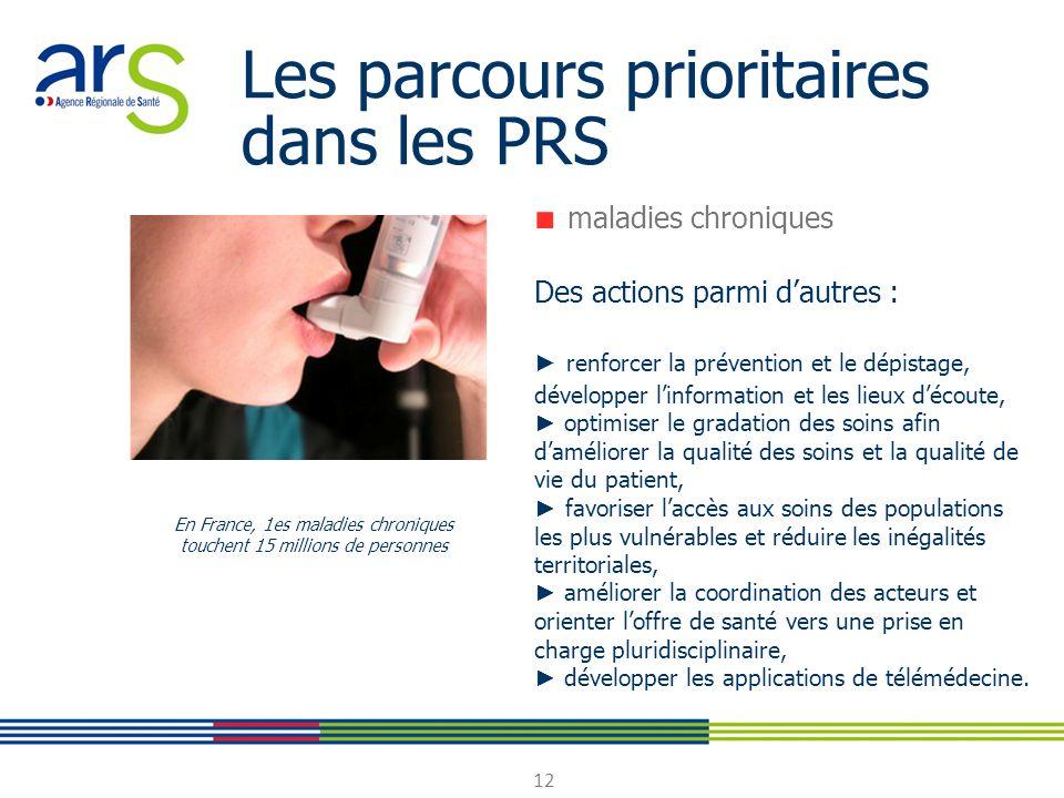 12 Les parcours prioritaires dans les PRS maladies chroniques Des actions parmi dautres : renforcer la prévention et le dépistage, développer linforma