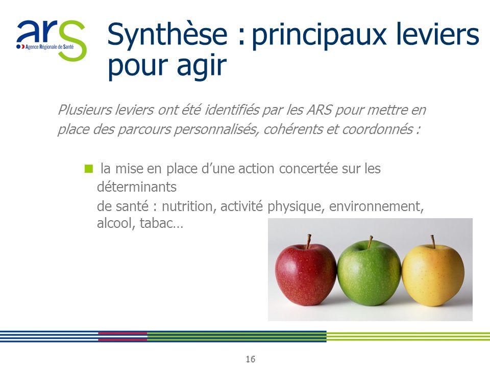 16 Synthèse : principaux leviers pour agir Plusieurs leviers ont été identifiés par les ARS pour mettre en place des parcours personnalisés, cohérents