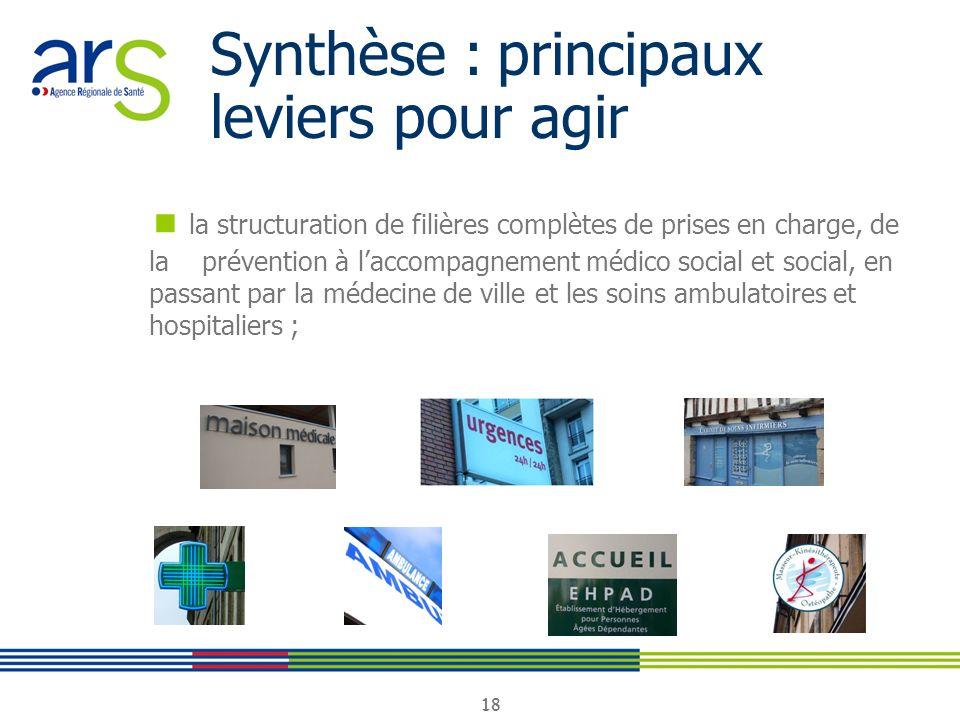 18 Synthèse : principaux leviers pour agir la structuration de filières complètes de prises en charge, de la prévention à laccompagnement médico socia