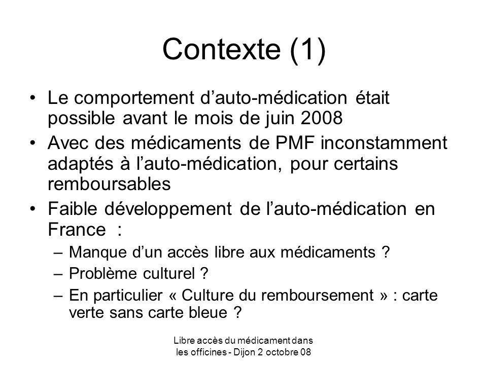Libre accès du médicament dans les officines - Dijon 2 octobre 08 Contexte (1) Le comportement dauto-médication était possible avant le mois de juin 2