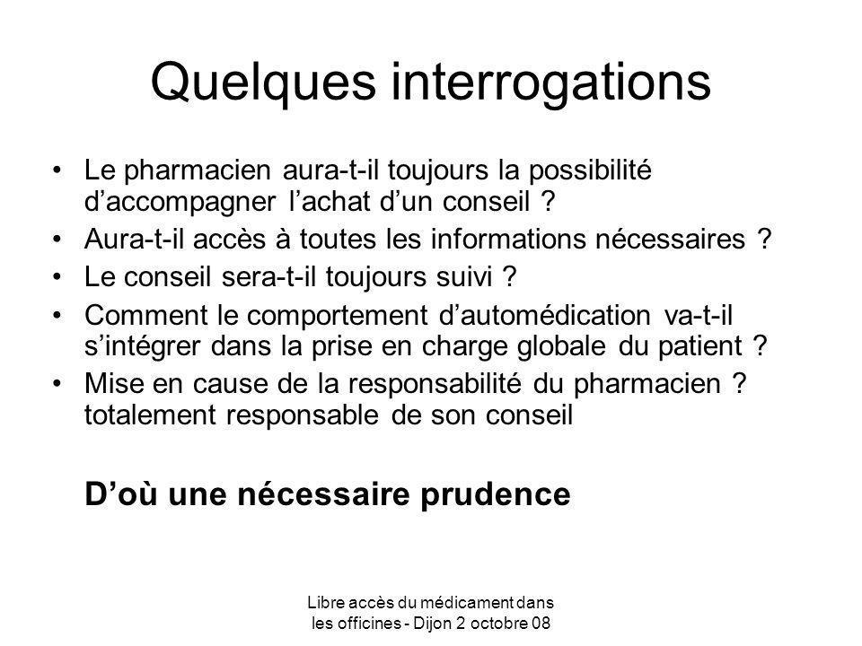 Libre accès du médicament dans les officines - Dijon 2 octobre 08 Quelques interrogations Le pharmacien aura-t-il toujours la possibilité daccompagner