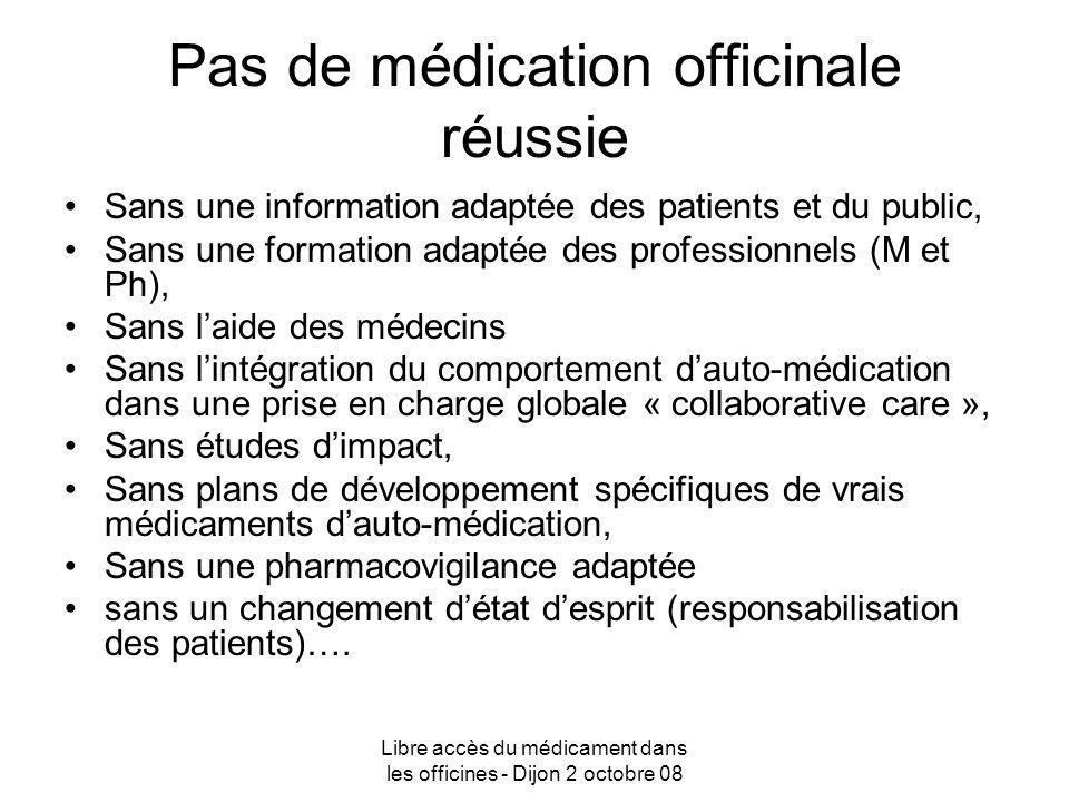 Libre accès du médicament dans les officines - Dijon 2 octobre 08 Pas de médication officinale réussie Sans une information adaptée des patients et du