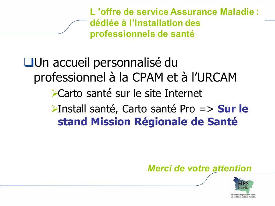 Un accueil personnalisé du professionnel à la CPAM et à lURCAM Carto santé sur le site Internet Install santé, Carto santé Pro => Sur le stand Mission