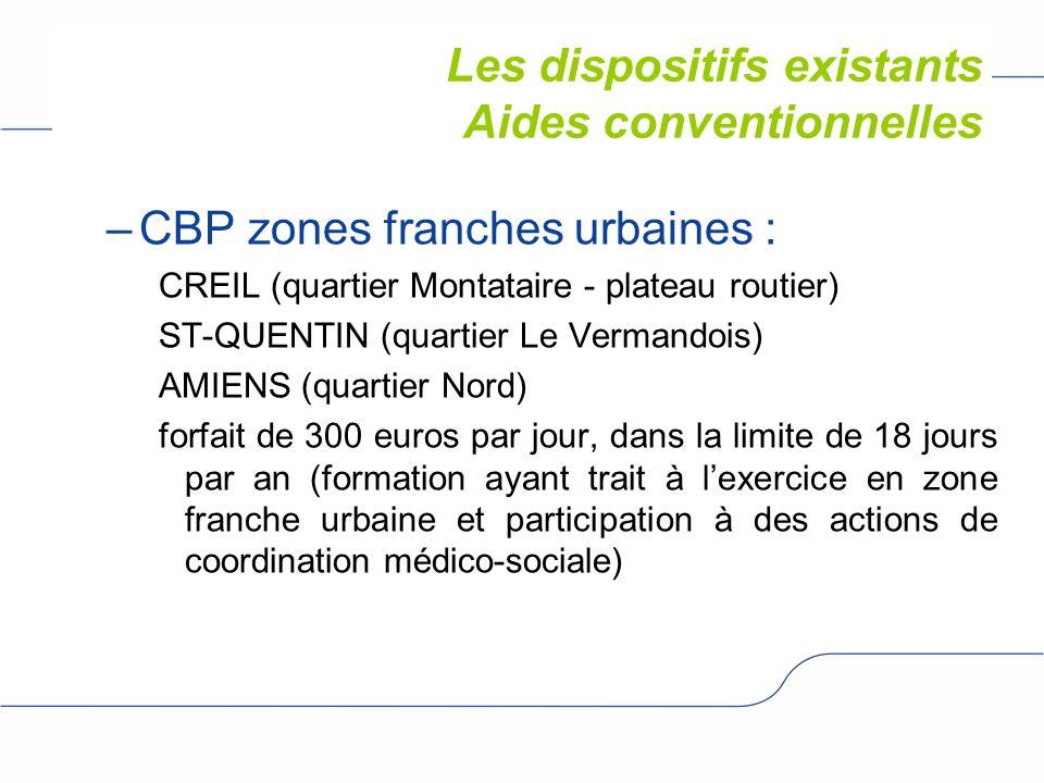 Les dispositifs existants –CBP zones franches urbaines : CREIL (quartier Montataire - plateau routier) ST-QUENTIN (quartier Le Vermandois) AMIENS (qua