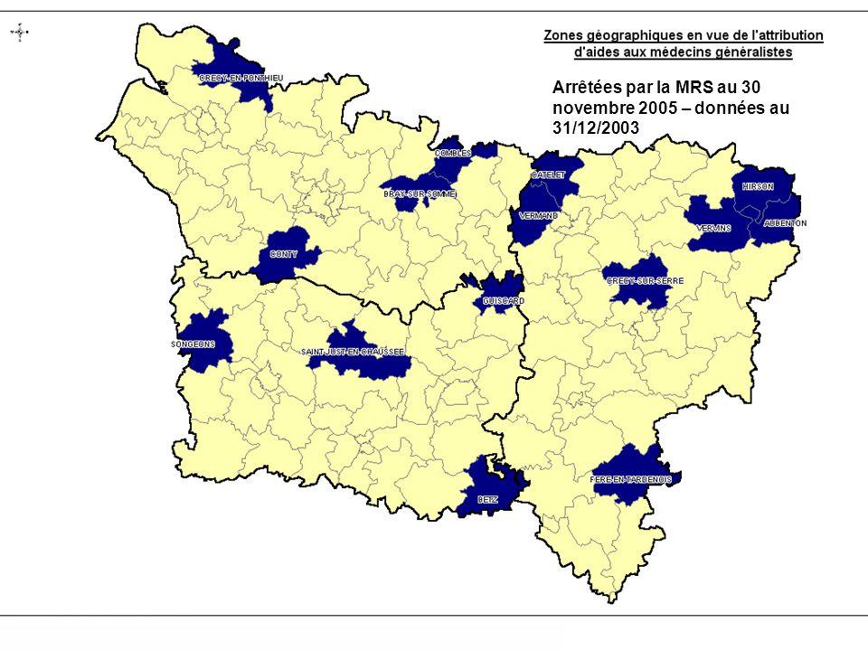 Arrêtées par la MRS au 30 novembre 2005 – données au 31/12/2003