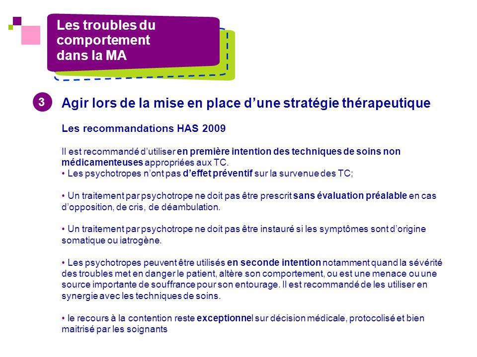 Les troubles du comportement dans la MA Agir lors de la mise en place dune stratégie thérapeutique Les recommandations HAS 2009 Il est recommandé duti