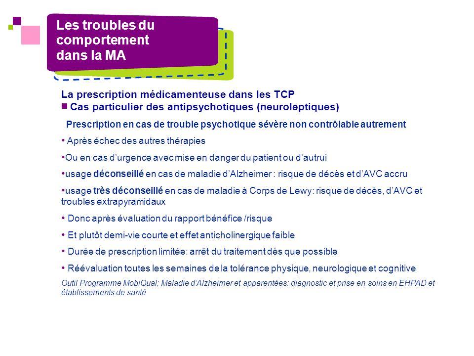 Les troubles du comportement dans la MA La prescription médicamenteuse dans les TCP Cas particulier des antipsychotiques (neuroleptiques) Prescription