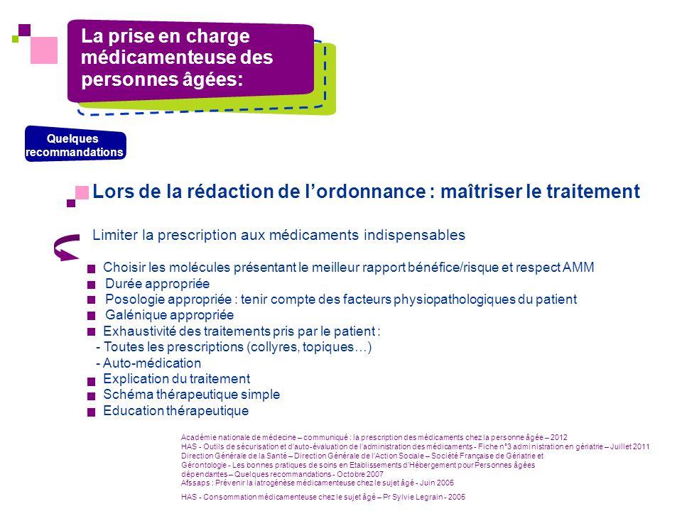 Lors de la rédaction de lordonnance : maîtriser le traitement Limiter la prescription aux médicaments indispensables Choisir les molécules présentant