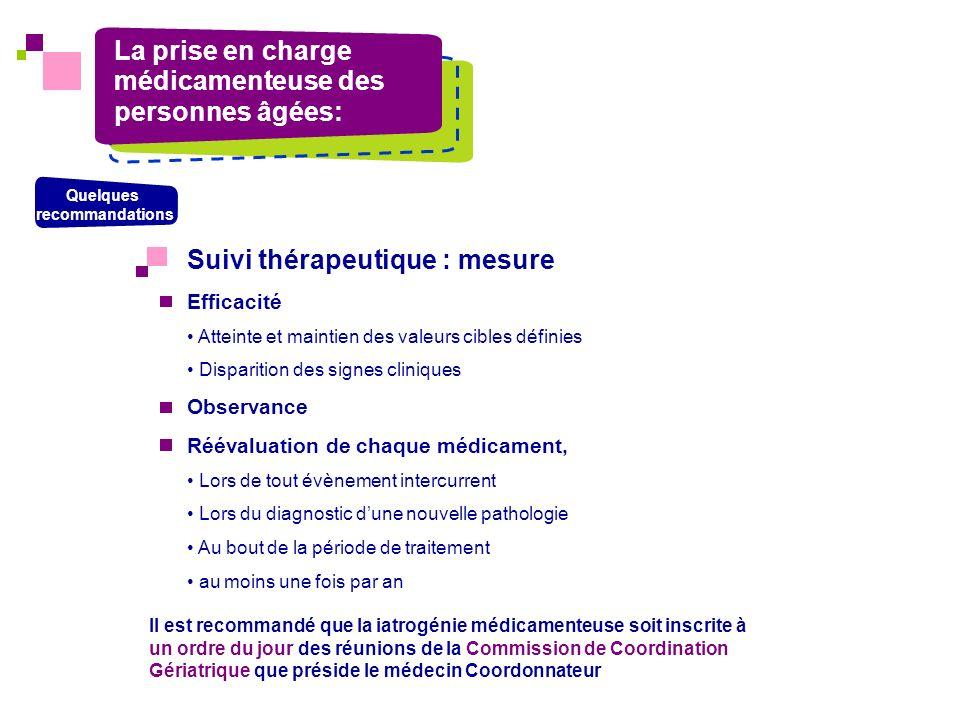 La prise en charge médicamenteuse des personnes âgées: Quelques recommandations Suivi thérapeutique : mesure Efficacité Atteinte et maintien des valeu