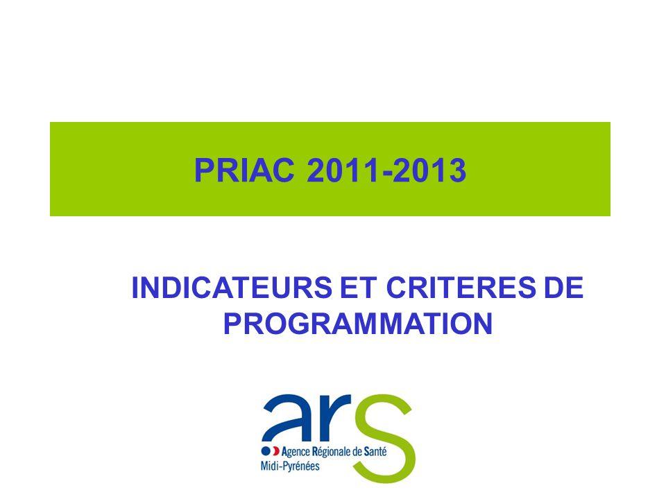 PRIAC 2011-2013 INDICATEURS ET CRITERES DE PROGRAMMATION