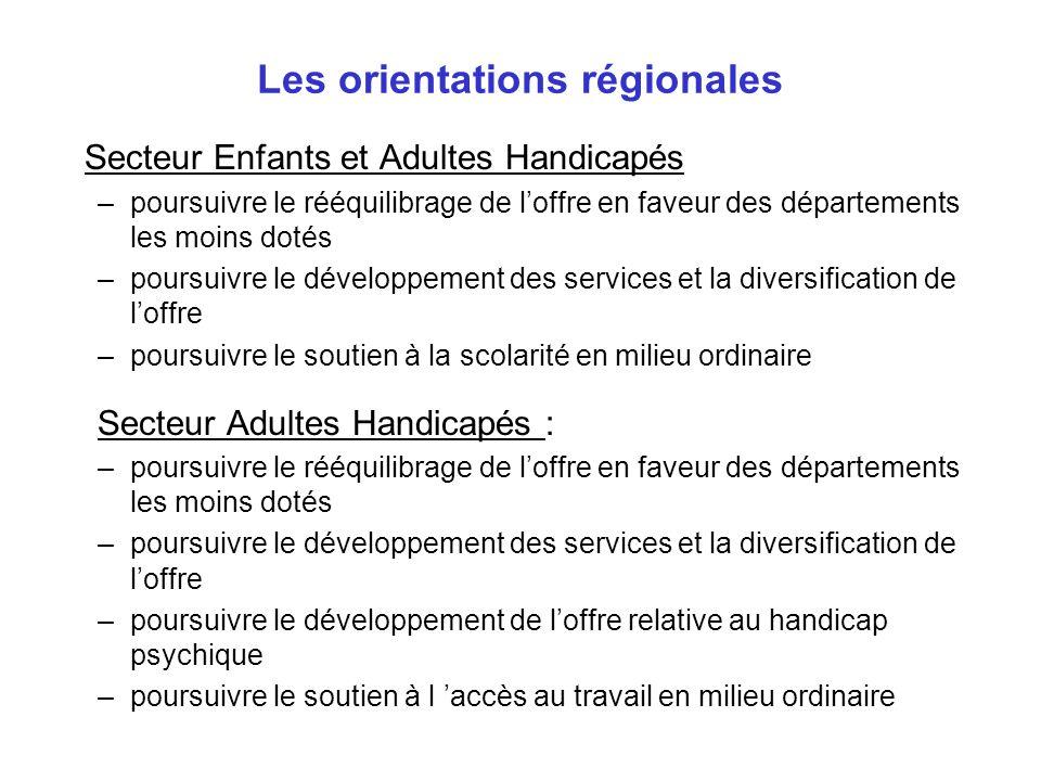 Les orientations régionales Secteur Enfants et Adultes Handicapés –poursuivre le rééquilibrage de loffre en faveur des départements les moins dotés –p