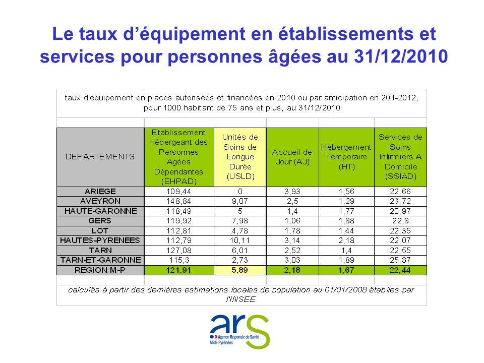Le taux déquipement en établissements et services pour personnes âgées au 31/12/2010