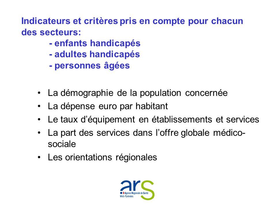 Indicateurs et critères pris en compte pour chacun des secteurs: - enfants handicapés - adultes handicapés - personnes âgées La démographie de la popu
