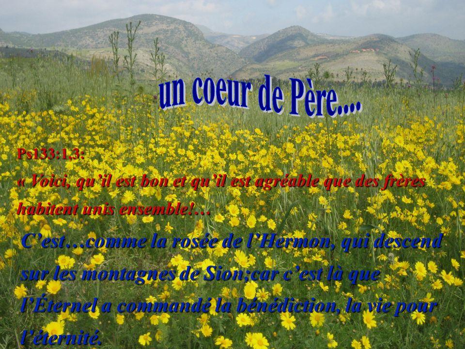 Ps133:1,3: « Voici, quil est bon et quil est agréable que des frères habitent unis ensemble!… Cest…comme la rosée de lHermon, qui descend sur les montagnes de Sion;car cest là que lÉternel a commandé la bénédiction, la vie pour léternité.