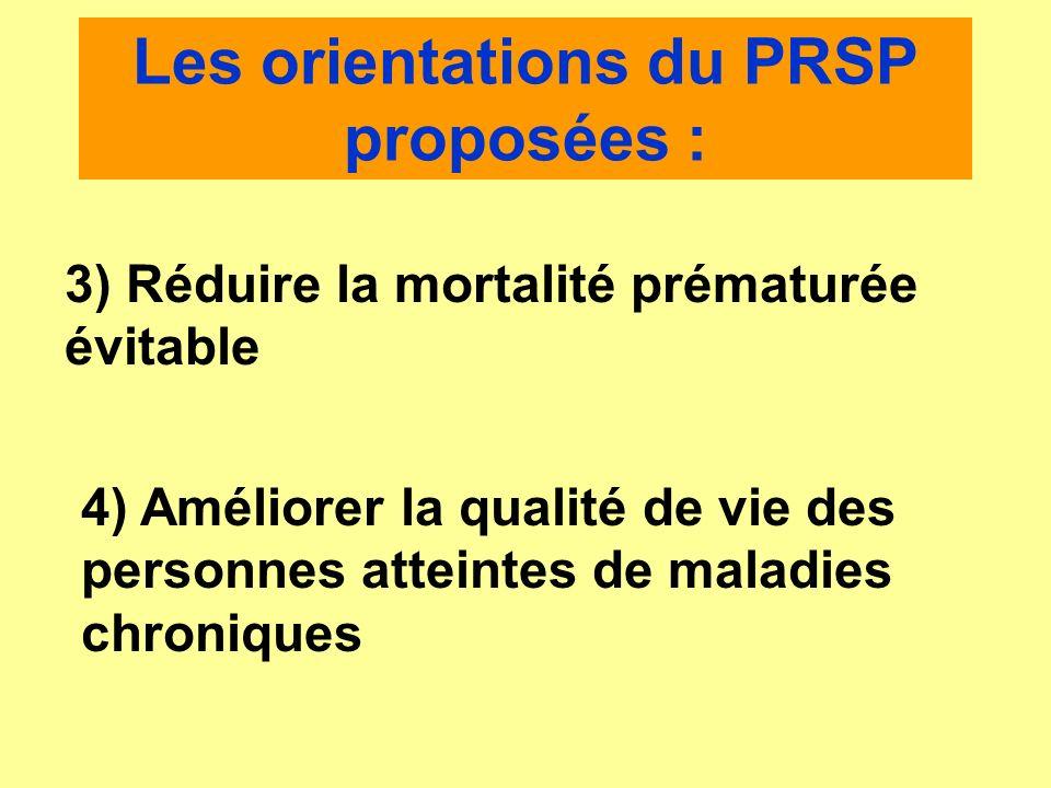 Les orientations du PRSP proposées : 3) Réduire la mortalité prématurée évitable 4) Améliorer la qualité de vie des personnes atteintes de maladies ch