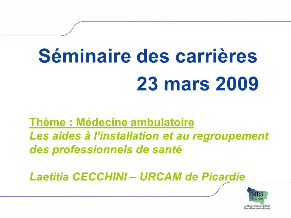 logo Assurance maladie région Séminaire des carrières 23 mars 2009 Thème : Médecine ambulatoire Les aides à linstallation et au regroupement des profe