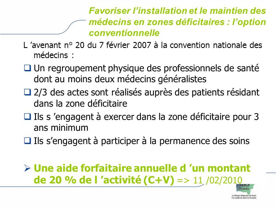 logo Assurance maladie région Favoriser linstallation et le maintien des médecins en zones déficitaires : loption conventionnelle L avenant n° 20 du 7