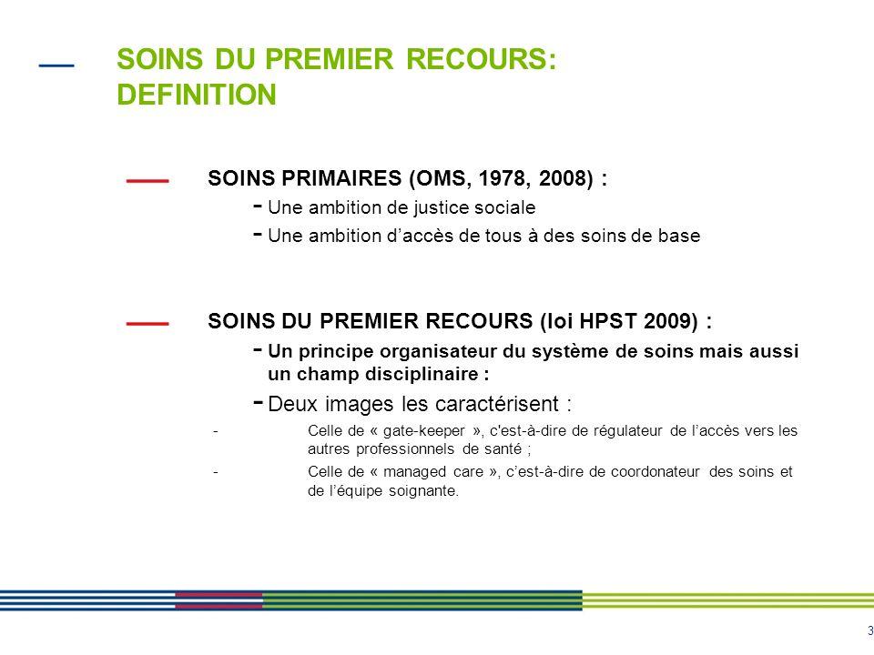 3 SOINS DU PREMIER RECOURS: DEFINITION SOINS PRIMAIRES (OMS, 1978, 2008) : - Une ambition de justice sociale - Une ambition daccès de tous à des soins