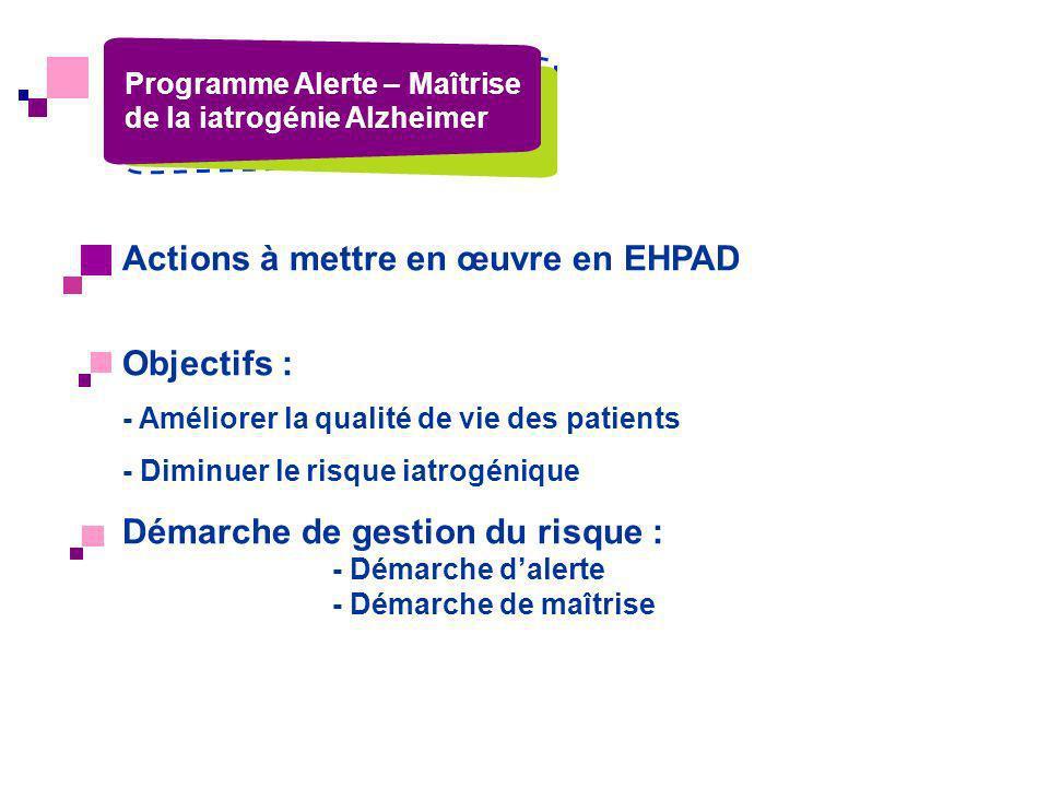 Actions à mettre en œuvre en EHPAD Objectifs : - Améliorer la qualité de vie des patients - Diminuer le risque iatrogénique Démarche de gestion du ris