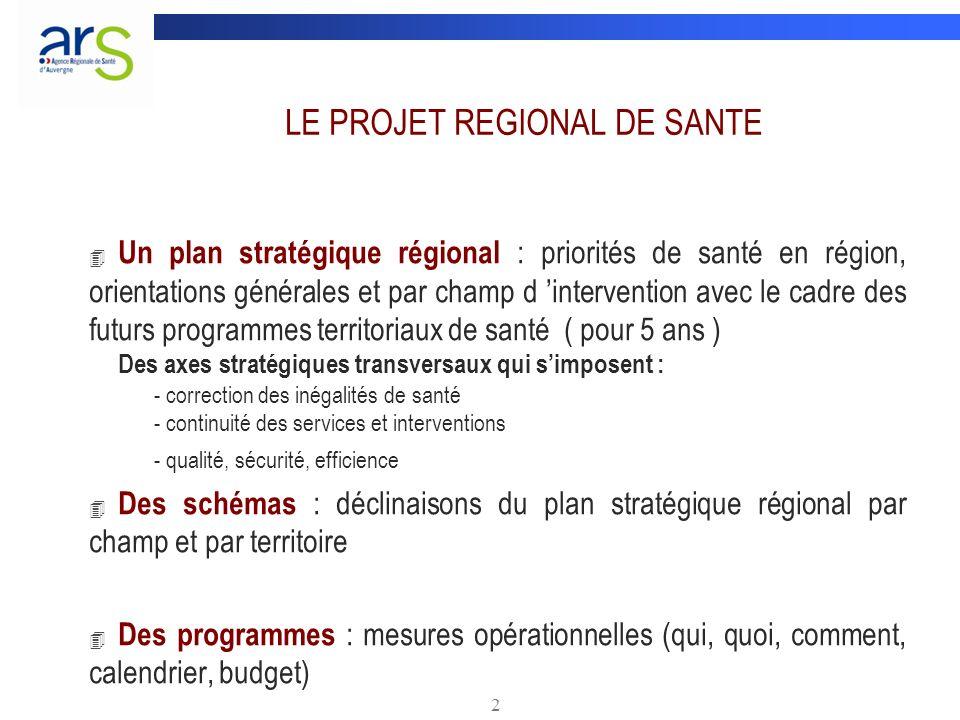 2 LE PROJET REGIONAL DE SANTE 4 Un plan stratégique régional : priorités de santé en région, orientations générales et par champ d intervention avec l