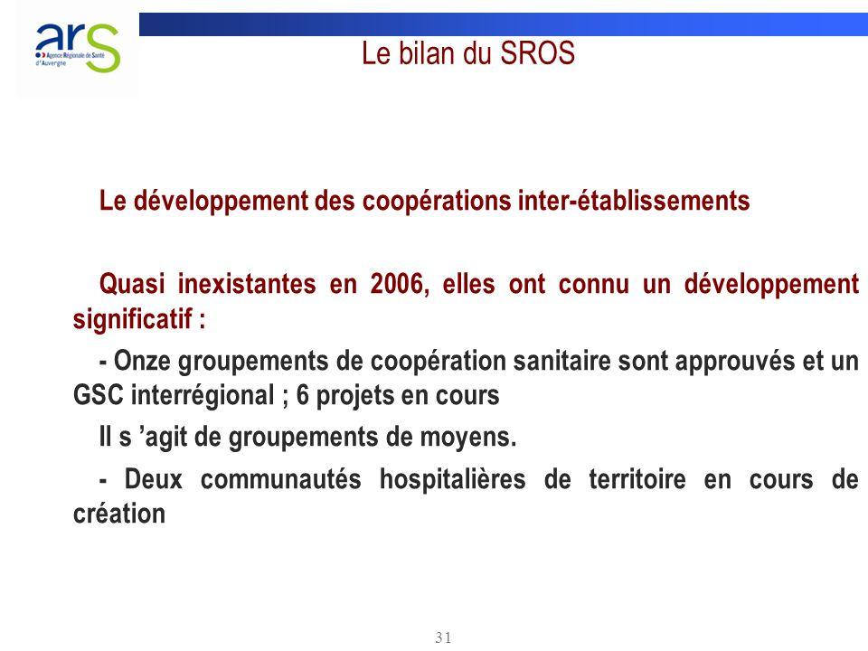 31 Le bilan du SROS Le développement des coopérations inter-établissements Quasi inexistantes en 2006, elles ont connu un développement significatif :