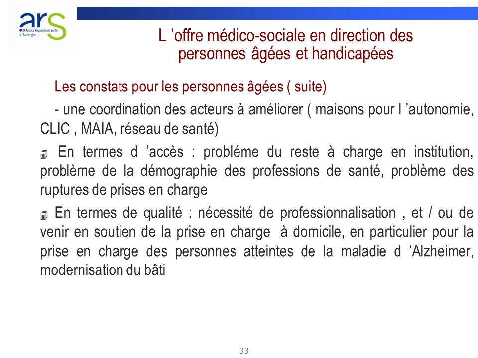 33 L offre médico-sociale en direction des personnes âgées et handicapées Les constats pour les personnes âgées ( suite) - une coordination des acteur