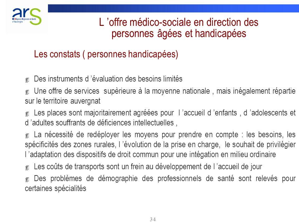 34 L offre médico-sociale en direction des personnes âgées et handicapées Les constats ( personnes handicapées) 4 Des instruments d évaluation des bes