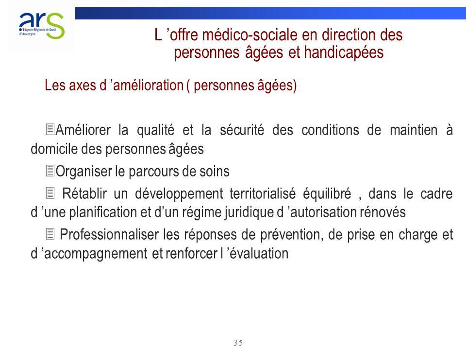 35 L offre médico-sociale en direction des personnes âgées et handicapées Les axes d amélioration ( personnes âgées) Améliorer la qualité et la sécuri