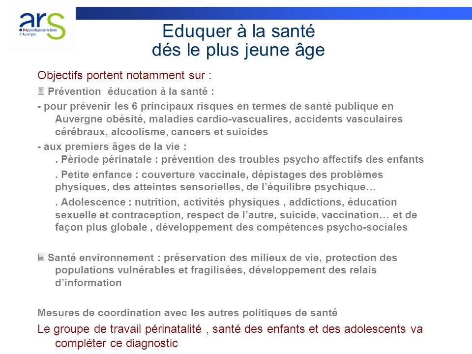 Eduquer à la santé dés le plus jeune âge Objectifs portent notamment sur : Prévention éducation à la santé : - pour prévenir les 6 principaux risques