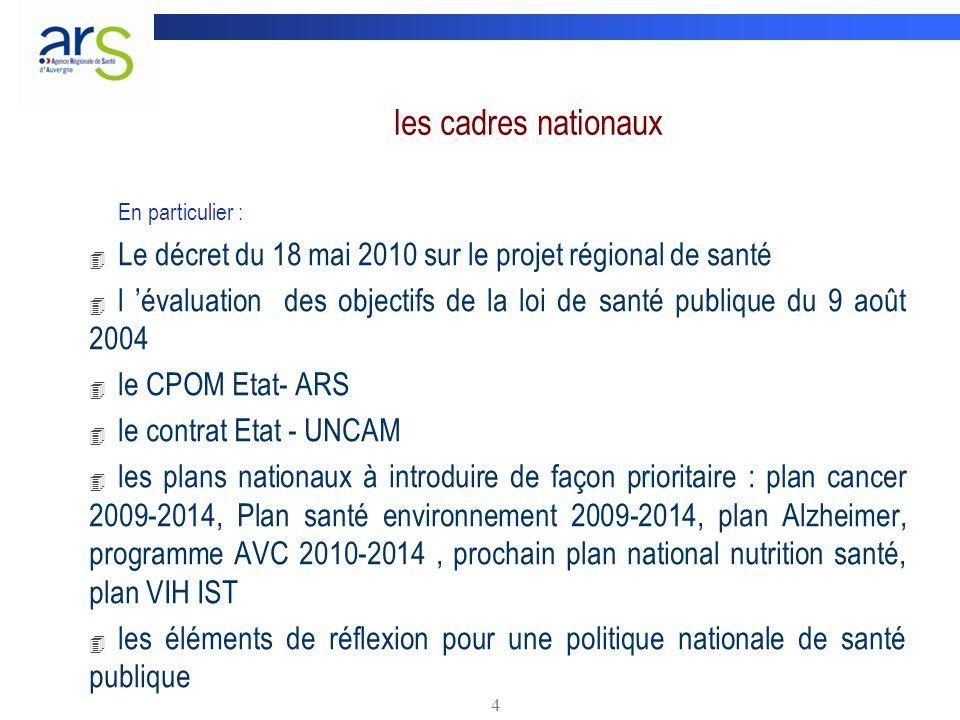 4 les cadres nationaux En particulier : 4 Le décret du 18 mai 2010 sur le projet régional de santé 4 l évaluation des objectifs de la loi de santé pub