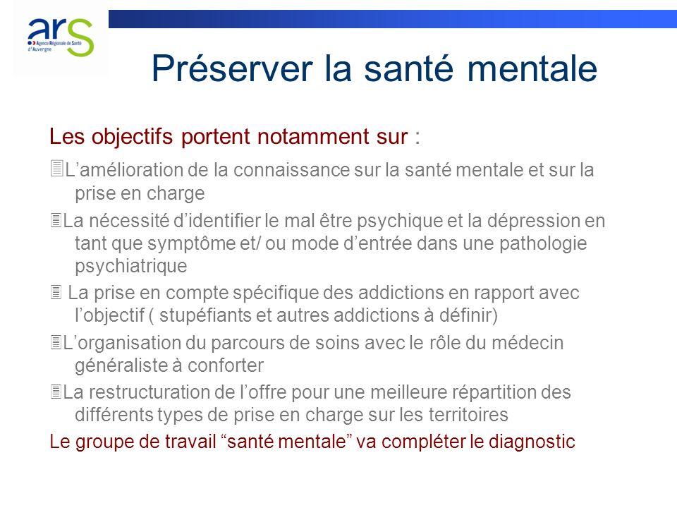 Préserver la santé mentale Les objectifs portent notamment sur : Lamélioration de la connaissance sur la santé mentale et sur la prise en charge La né