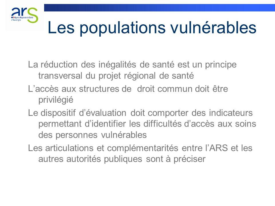 Les populations vulnérables La réduction des inégalités de santé est un principe transversal du projet régional de santé Laccès aux structures de droi