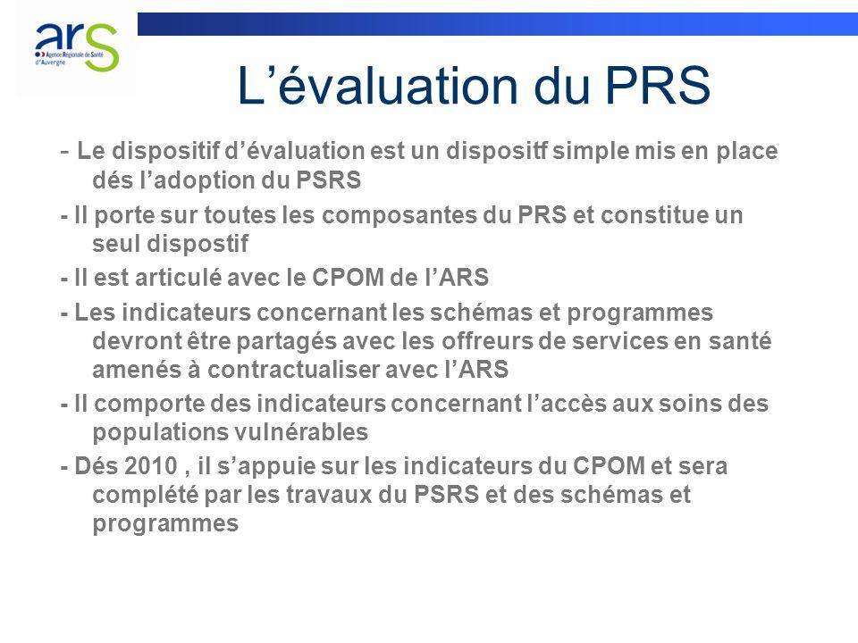 Lévaluation du PRS - Le dispositif dévaluation est un dispositf simple mis en place dés ladoption du PSRS - Il porte sur toutes les composantes du PRS