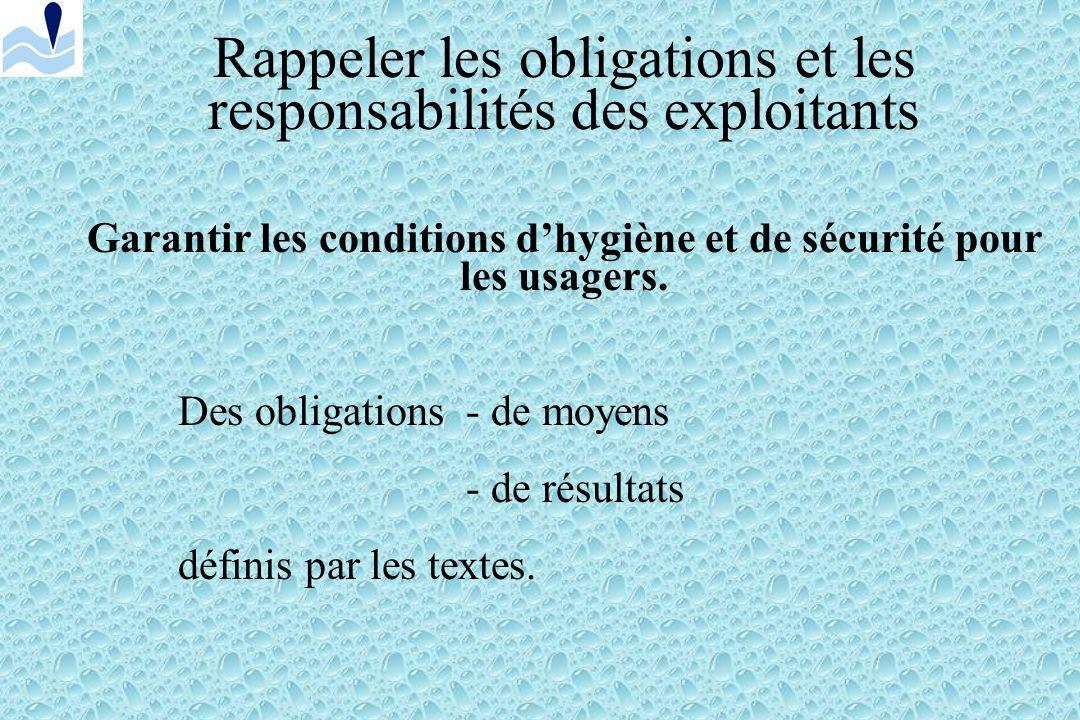 Rappeler les obligations et les responsabilités des exploitants Garantir les conditions dhygiène et de sécurité pour les usagers.