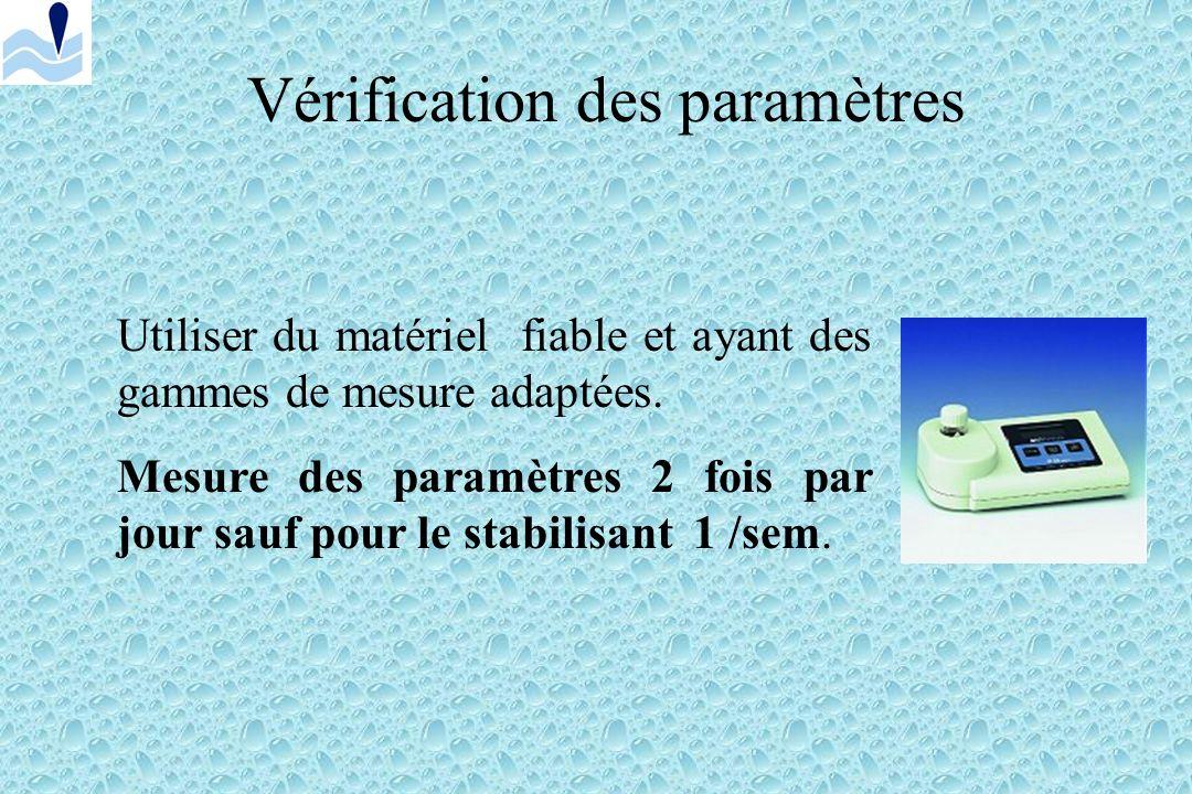 Conditions dexploitation Vérifier le fonctionnement des différents organes (pompes, pompes doseuses, manomètre du filtre, filtre …) Vérifier le niveau