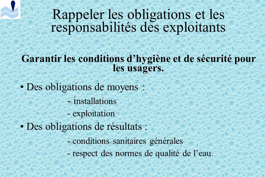 Rappeler les obligations et les responsabilités des exploitants Code de la Santé Publique: - Partie législative - Partie réglementaire Arrêtés du 7 av