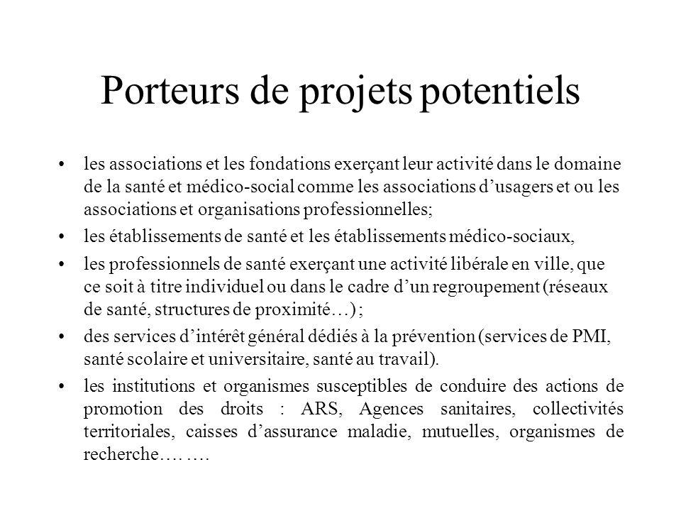 Porteurs de projets potentiels les associations et les fondations exerçant leur activité dans le domaine de la santé et médico-social comme les associ