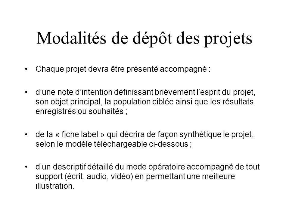 Modalités de dépôt des projets Chaque projet devra être présenté accompagné : dune note dintention définissant brièvement lesprit du projet, son objet