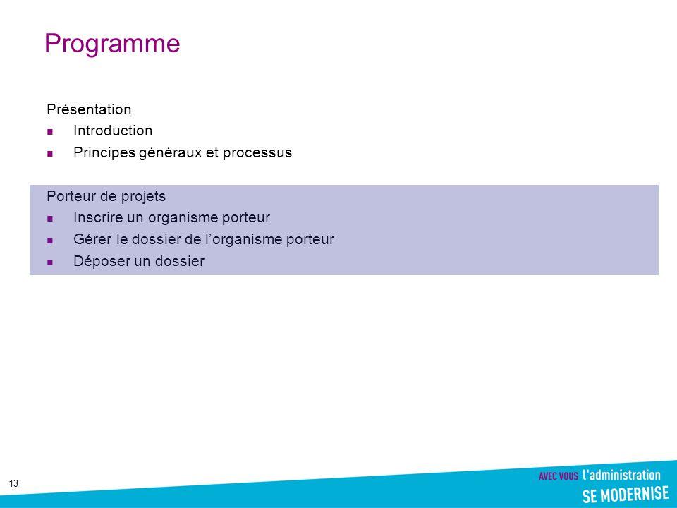 13 Programme Présentation Introduction Principes généraux et processus Porteur de projets Inscrire un organisme porteur Gérer le dossier de lorganisme