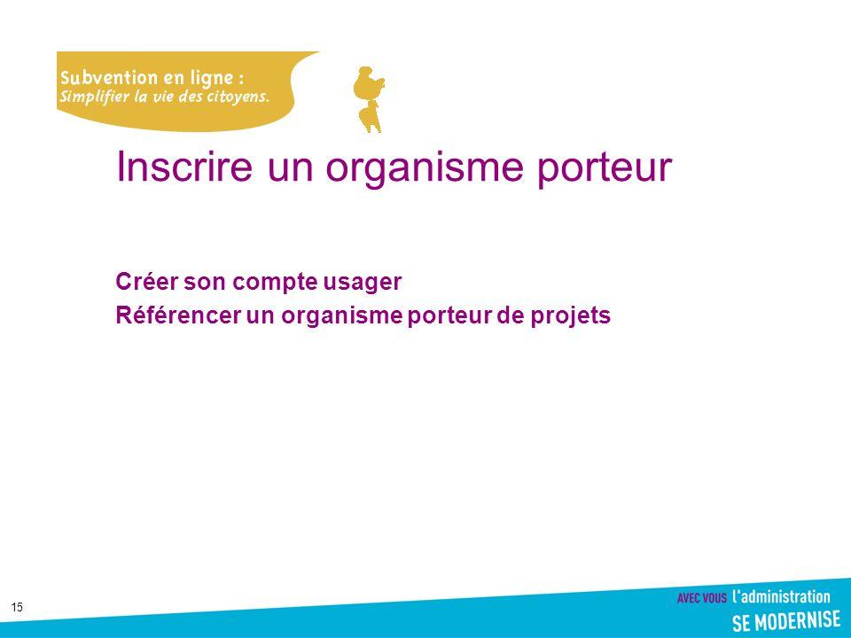 15 Inscrire un organisme porteur Créer son compte usager Référencer un organisme porteur de projets