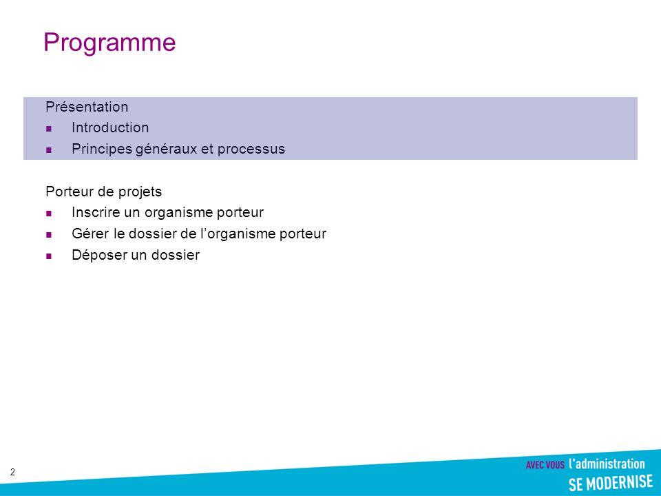 2 Programme Présentation Introduction Principes généraux et processus Porteur de projets Inscrire un organisme porteur Gérer le dossier de lorganisme porteur Déposer un dossier