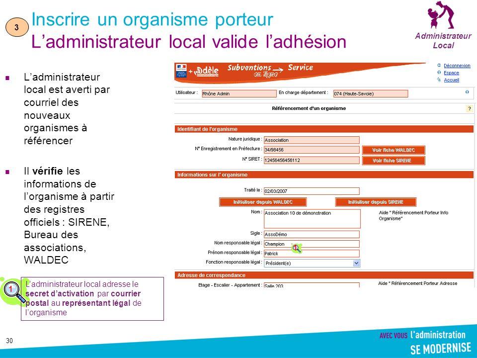 30 Inscrire un organisme porteur Ladministrateur local valide ladhésion Ladministrateur local est averti par courriel des nouveaux organismes à référe