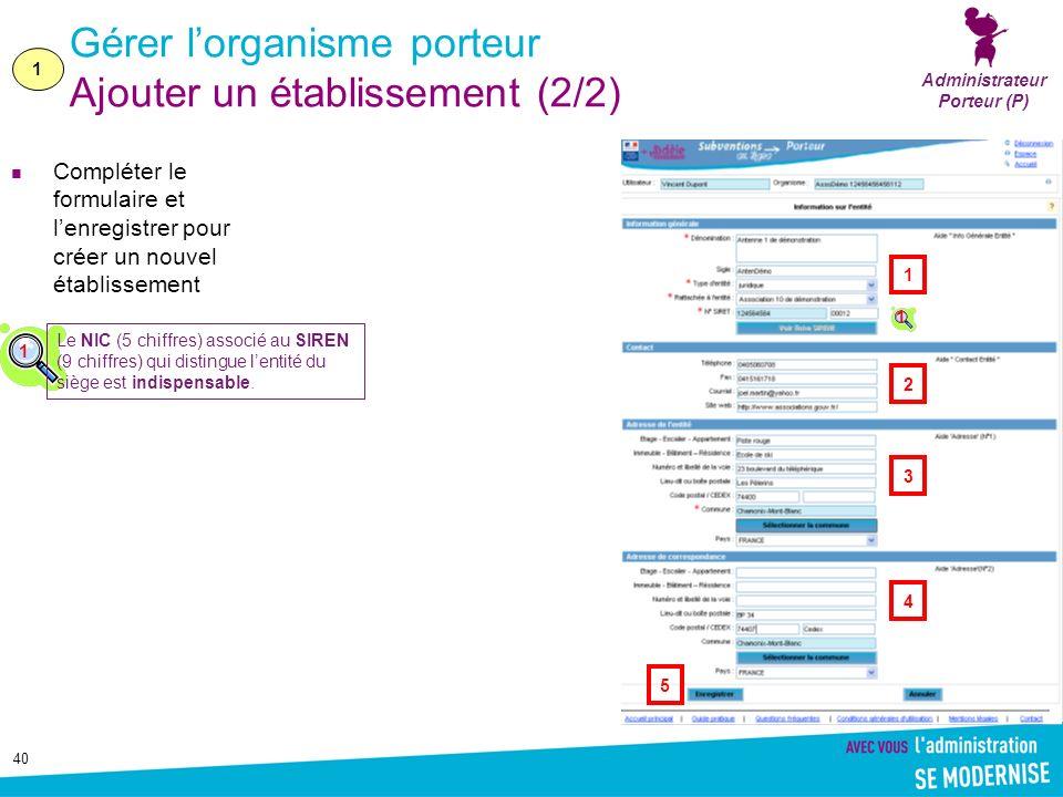 40 Gérer lorganisme porteur Ajouter un établissement (2/2) Compléter le formulaire et lenregistrer pour créer un nouvel établissement Administrateur P
