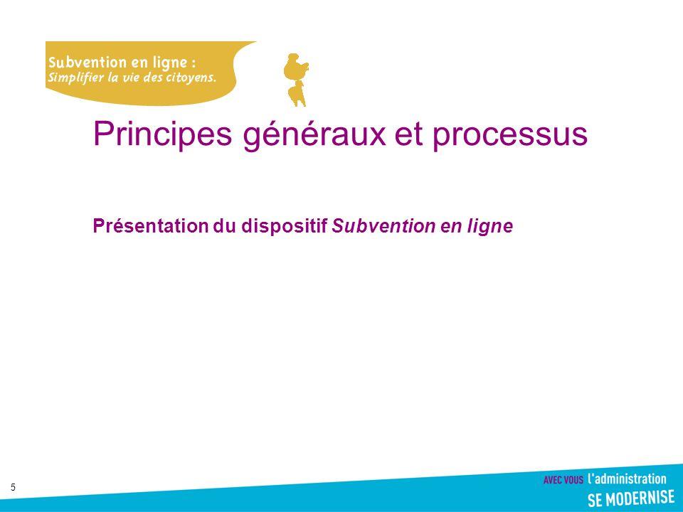 5 Principes généraux et processus Présentation du dispositif Subvention en ligne