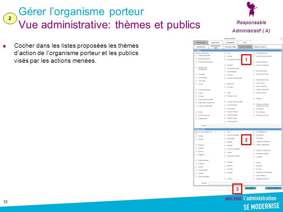 50 Gérer lorganisme porteur Vue administrative: thèmes et publics Cocher dans les listes proposées les thèmes daction de lorganisme porteur et les pub