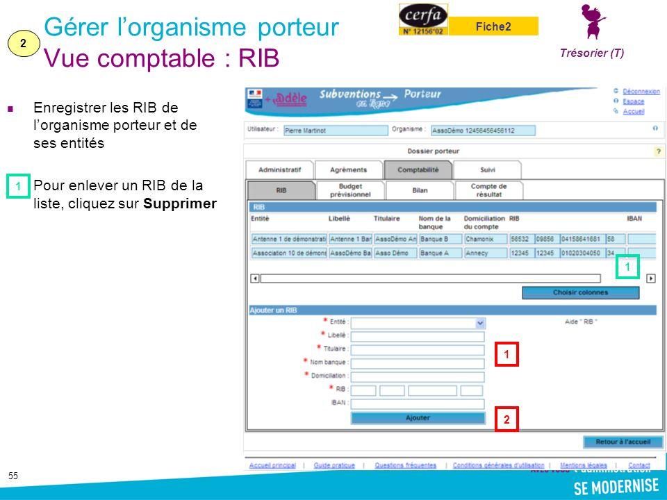55 Gérer lorganisme porteur Vue comptable : RIB Enregistrer les RIB de lorganisme porteur et de ses entités Pour enlever un RIB de la liste, cliquez sur Supprimer 1 2 2 1 1 Trésorier (T) Fiche2
